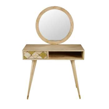 SALOME Solid mango wood 1-drawer dressing table (137 x 88cm)