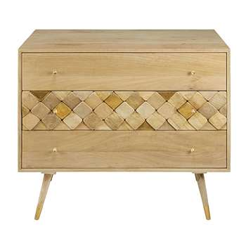 SALOME Solid mango wood 3-drawer chest (75 x 95cm)