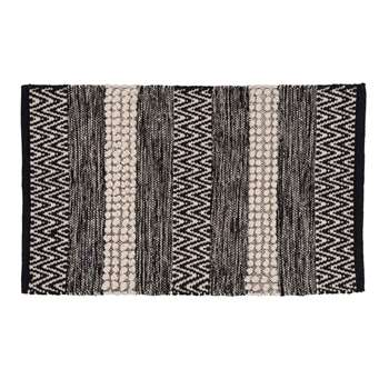 SALVADOR Cotton Rug with Black and Ecru Stripe Print (H50 x W80cm)