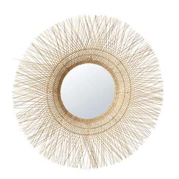 SALVADOR - Round Coconut Fibre Mirror (H105.5 x W105.5 x D13cm)