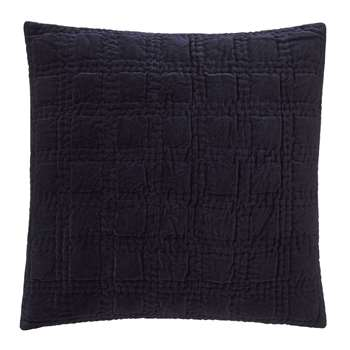 Samana Cushion Cover, Dark Blue with Check Quilted Design (50 x 50cm)