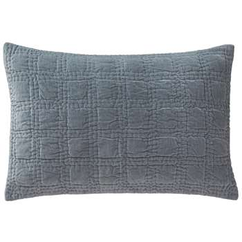 Samana Cushion Cover, Green Grey With Check Quilted Design (40 x 60cm)