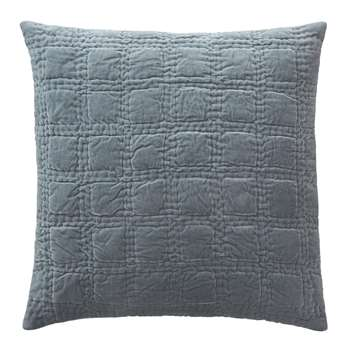Samana Cushion Cover, Green Grey With Check Quilted Design (50 x 50cm)