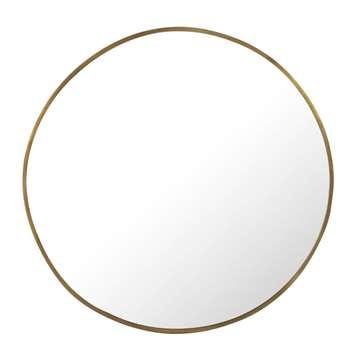 SAMARA - Brass-Coloured Hammered Metal Round Mirror (Diameter 130cm)
