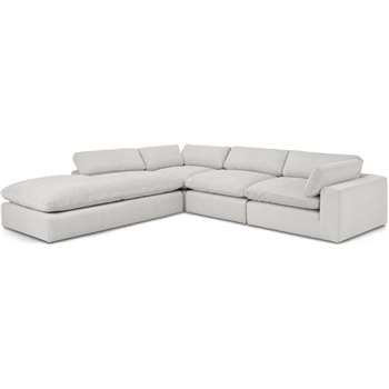 Samona Left Hand Facing Full Corner Sofa, Stone Grey Corduroy Velvet (H80 x W340 x D317cm)