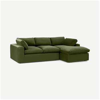 Samona Right Hand Facing Chaise End Sofa, Pistachio Green Velvet (H80 x W259 x D175cm)