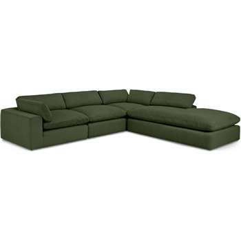 Samona Right Hand Facing Full Corner Sofa, Sage Corduroy Velvet (H80 x W340 x D317cm)