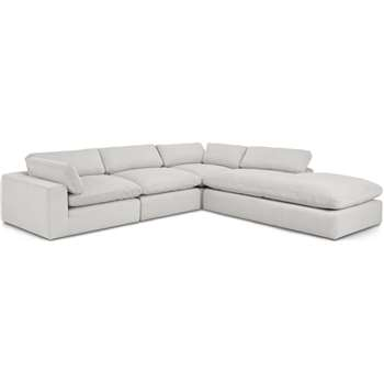Samona Right Hand Facing Full Corner Sofa, Stone Grey Corduroy Velvet (H80 x W340 x D317cm)