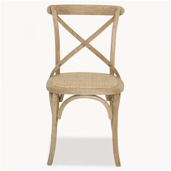 Sandhurst Crossed Back Dining Chair with Rattan Seat (89 x 51cm)