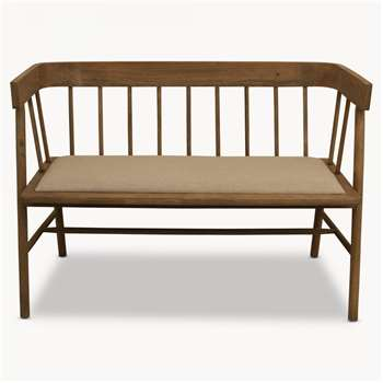 Sandhurst Two Seater Bench with Arms and Fabric Seat (85 x 123cm)
