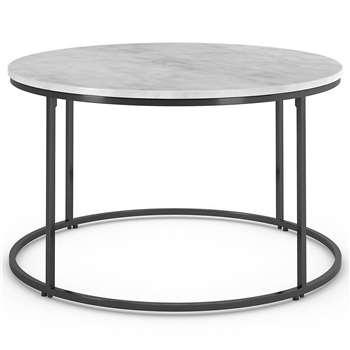 Farley Round Coffee Table, White Mix (H42 x W72 x D72cm)