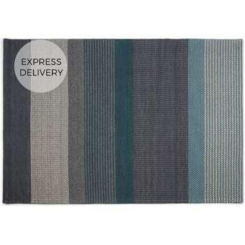 Sanlow Textured Stripe Large Rug, Teal Blue (H160 x W230 x D1.7cm)