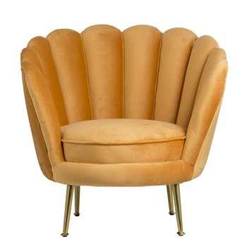 Santena Ochre Velvet Chair (H78 x W80 x D75cm)