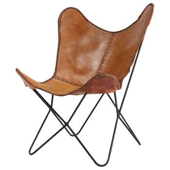 SANTIAGO Leather Armchair in Camel (H92 x W72 x D76cm)