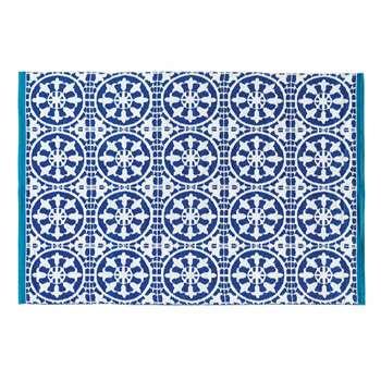 SANTORINI blue and white outdoor rug 140 x 200 cm