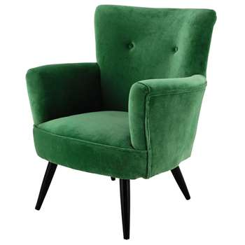 SAO PAULO Velvet Armchair in Green (H81 x W76 x D75cm)