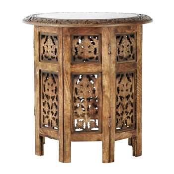 SARANYA carved wood side table (45 x 46cm)