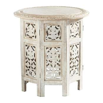 SARANYA carved wood side table in whitewash finish (44 x 46cm)