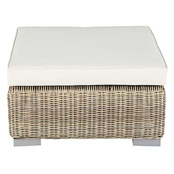SARDAIGNE Garden pouffe in beige resin wicker with ecru cushion (32 x 75cm)
