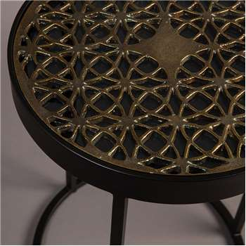 Sari Glass Top Table with Decorative Brass Insert (46 x 33cm)