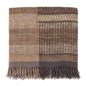 Sarni Wool Blanket, Natural, Brown & Charcoal (200 x 230cm)