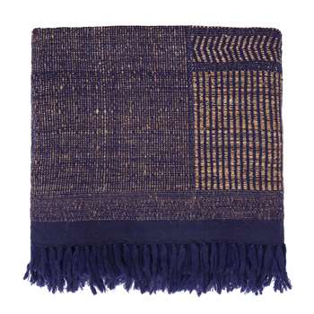 Sarni Wool Blanket, Natural & Dark Blue (200 x 230cm)