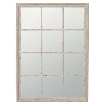 Sash Window Wall Mirror - Distressed Grey (130 x 95cm)