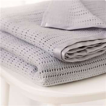 Satin Edged Cellular Baby Blanket - Cot, Grey (150 x 100cm)