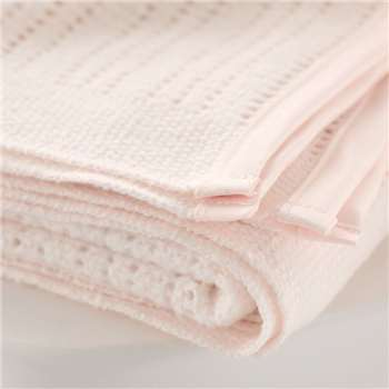 Satin Edged Cellular Baby Blanket - Cot, Pink (150 x 100cm)