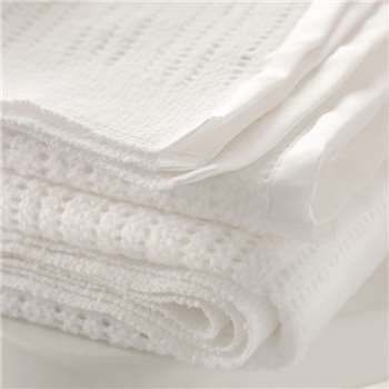 Satin Edged Cellular Baby Blanket - Cot, White (150 x 100cm)