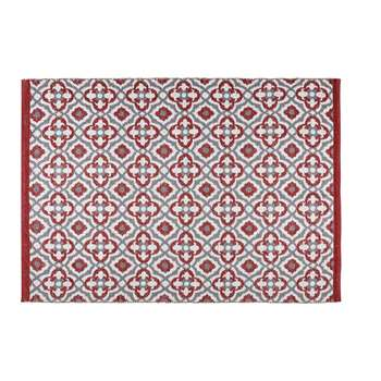 SAUBRIGESE outdoor rug with red and white graphic motifs (140 x 200cm)