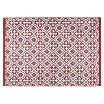 SAUBRIGUES Red Outdoor Carpet with Graphic Motifs (160 x 230cm)