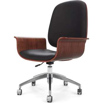 Saul Office Chair, Walnut and Black (H110 x W70 x D64cm)