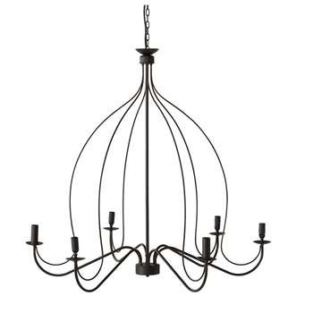 SAUMUR metal 6 branch chandelier in black D 100cm