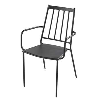 Savannah Pro - Garden Chair in Anthracite Grey Epoxy Metal (H87.5 x W55.5 x D42.5cm)