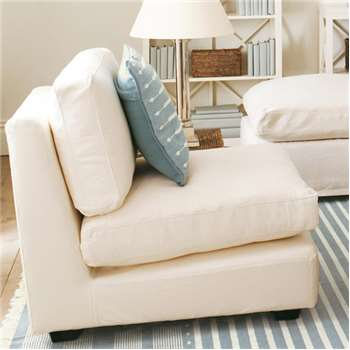 Savile Armless Sofa Chair - White (78 x 76cm)