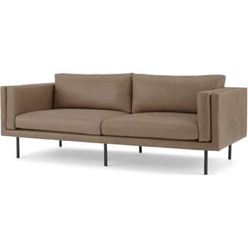 Savio 3 Seater Sofa, Chalk Mink Leather (H76 x W208 x D100cm)