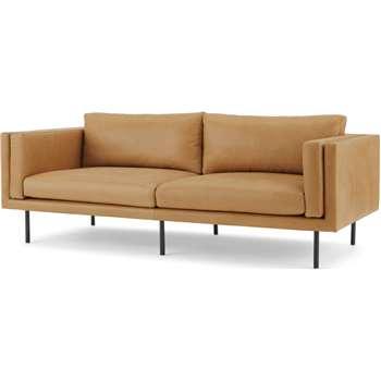 Savio 3 Seater Sofa, Chalk Tan Leather (H76 x W208 x D89cm)