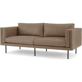 Savio Large 2 Seater Sofa, Chalk Mink Leather (H76 x W182 x D89cm)