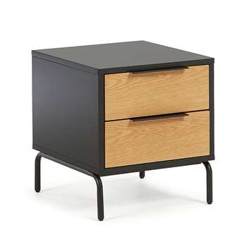 Savoi Bedside Table in Oak Veneer (H50 x W42 x D45cm)
