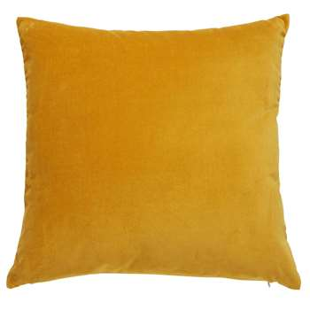 SAVORA mustard yellow velvet cushion (45 x 45cm)