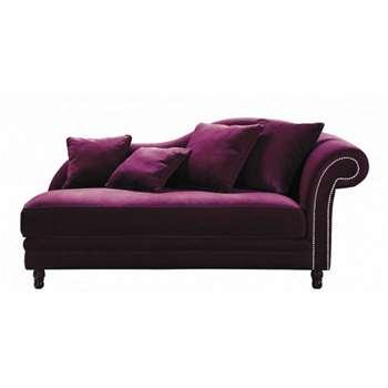 SCALA Velvet chaise longue in aubergine (H89 x W186 x D89cm)