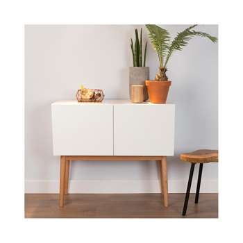 Scandinavian 2 Door Sideboard in White & Oak 80 x 90cm