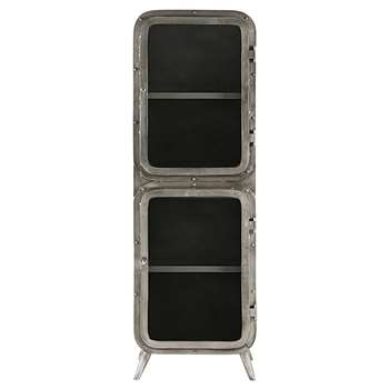 SCAPHANDRE Silver metal and glass 2-door display case (170 x 55cm)