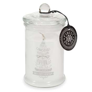 Scented Christmas Candle in Christmas Tree Print Glass Sweet Jar (H11 x W7.8cm)