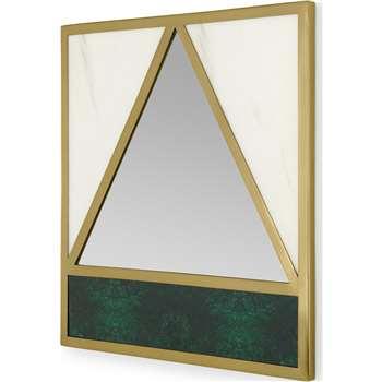 Schema Geometric Marble Effect Mirror, Brass (H50 x W50 x D2cm)
