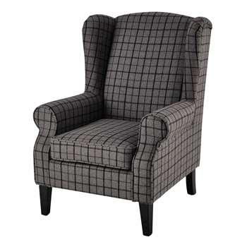 SCOTLAND Wool armchair in grey check (104 x 77cm)