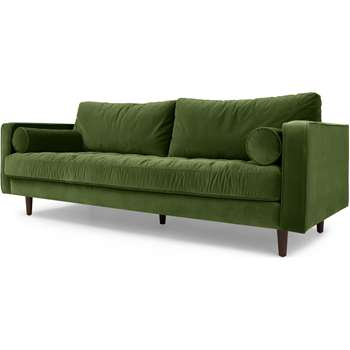 Scott 3 Seater Sofa, Grass Cotton Velvet (83 x 226cm)