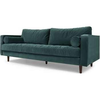 Scott 3 Seater Sofa, Petrol Cotton Velvet (83 x 226cm)