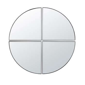 SCOTT - 4 Black Metal Quarter-Circle Mirrors (H112 x W115 x D3cm)